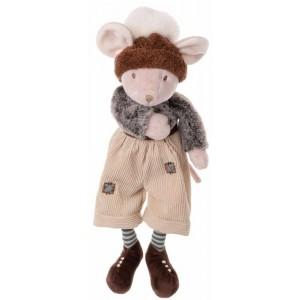 Plyšový myšiak Big Henry s béžovými zaplátanými nohavicami a čiapkou s brmbolcom 40 cm Bukowski design 35584