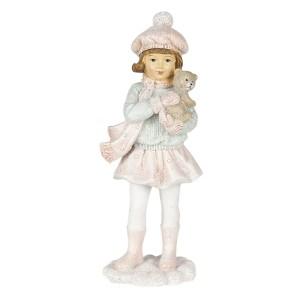 Polyresinová dekorácia dievčatka v zimnom šále a čiapke s macíkom v rukách Clayre & Eef 35408