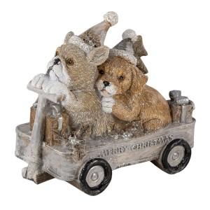 Polyresinová dekorácia vianočných psíkov vo vozíku Clayre & Eef 35022
