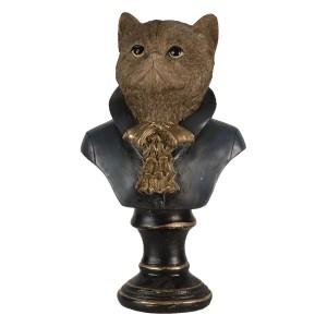 Polyresinová hlava mačky v košeli so šatkou na podstavci ako dekorácia Clayre & Eef 35029