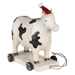 Polyresinová krava na kolieskach s vianočnou čapicou Clayre & Eef 35021