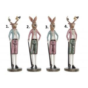 Polyresinová postavička ako dekorácia zajaca alebo jeleňa v štyroch variantoch 10 x 10 x36 cm 35313