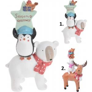 Polyresinová vianočná postavička ako dekorácia so zvieratkami a trbliekami 14 x 24 cm 35057