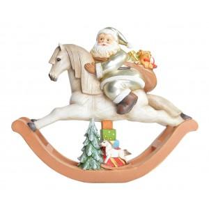 Polyresinová vianočná postavička hojdacieho koníka s Mikulášom a darčekmi 37 x 12 x 31 cm 35557