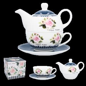 Porcelánová šálka s tanierikom a s čajníkom v modrej farbe s ružovými kvetmi 34606