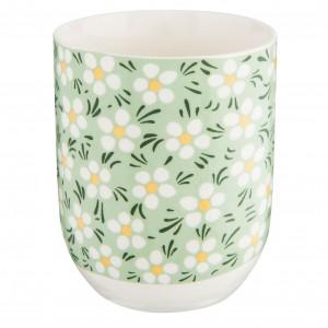 Porcelánový biely pohár s margarétkami 6x8 cm 0,1 L Clayre-Eef 33227