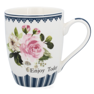 Porcelánový pohár s modrým dekorom a ružami Enjoy Today 34613