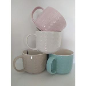 Porcelánový pohár so srdiečkami ružový, modrý, hnedý, alebo biely 11x8,5 cm / 550 ml 33144