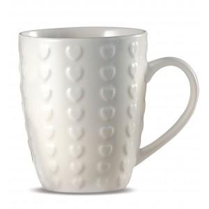 Porcelánový pohár so srdiečkami ružový, modrý, hnedý, alebo biely 8x11 cm / 300 ml 33143