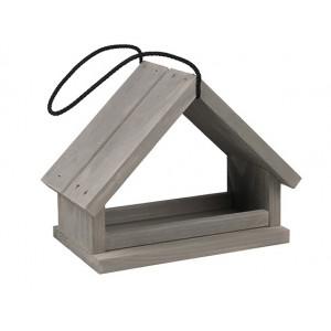 Priestranná drevená vtáčia búdka sivá ako krmítko pre vtáčiky na zavesenie 34906
