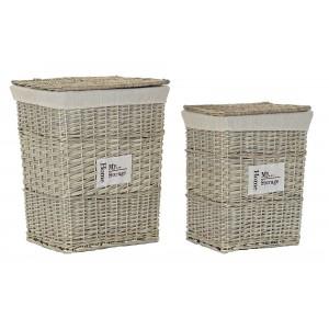 Prútený kôš na prádlo natural malý s bavlnenou látkou a poklopom na pántoch 39 x 28 x 49 cm 35314
