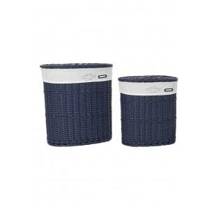 Prútený modrý kôš na prádlo veľký s bavlnenou látkou a s poklopom 50 x 37 x 56 cm 35321