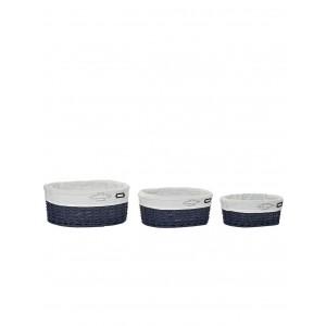 Prútený modrý kôš stredný s bavlnenou látkou 34 x 27 x 15 cm 35324