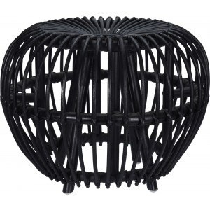 Ratanová taburetka čiernej farby KUBU BLACK 50 x 37 cm 35107