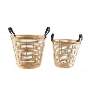 Ratanový košík s koženými rúčkami menší 32734