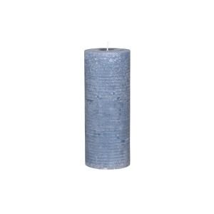 Rustikálna stĺpová sviečka v modrej farbe 25x10 cm Chic Antique 34221