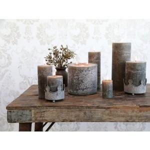 Rustikálna stĺpová sviečka v olivovej farbe 25x10 cm Chic Antique 33774