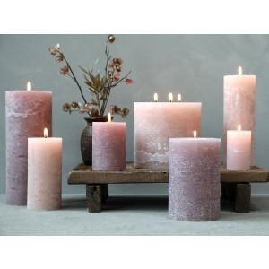 Rustikálna stĺpová sviečka v sivohnedej farbe 15x10 cm Chic Antique 33772