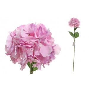 Ružová hlavička hortenzie na dlhej zelenej stonke s lístkami 75 cm 33795