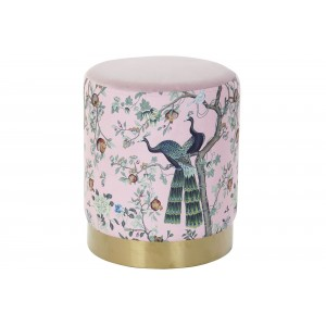 Ružová na dotyk jemná taburetka na sedenie s motívom pávov 32 x 32 x 38 cm 35333