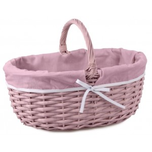 Ružový prútený košík s vnútrom lemovaným ružovou látkou 34542
