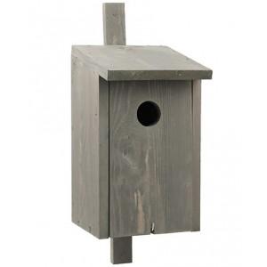 Sivá drevená vtáčia búdka so strieškou 34900