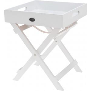 Skladací servírovací podnos v bielej farbe 36 x 30 x 30 cm 35104