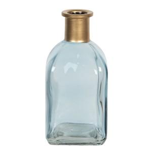 Sklenená hranatá modrá váza s hrdlom v zlatej farbe 6x6x13 cm Clayre-Eef 33313
