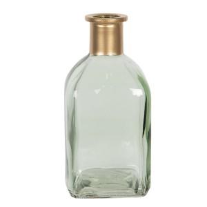 Sklenená hranatá zelená váza s hrdlom v zlatej farbe 6x6x13 cm Clayre-Eef 33312
