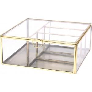 Sklenený box ako šperkovnica s kovovou konštrukciou a uzatvárateľným poklopom 20 x 20 x 8 cm 35065