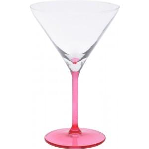 Sklenený koktailový pohár na stopke v ružovej farbe 260 ml 35081