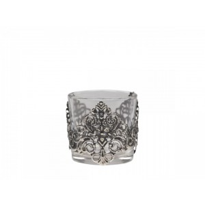 Sklenený svietnik na čajovú sviečku v kovovom dekore Chic Antique 34823
