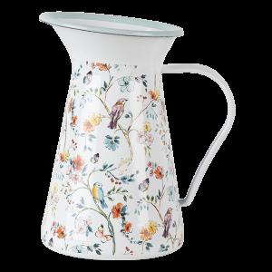 Smaltovaný vidiecky vintage džbán dekorovaný s lúčnymi kvetmi značky Clayre & Eef 34719