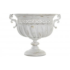 Starožitný biely vintage kovový kvetináč z patiny s obitým vzhľadom 45 x 39 x 36 cm 365344