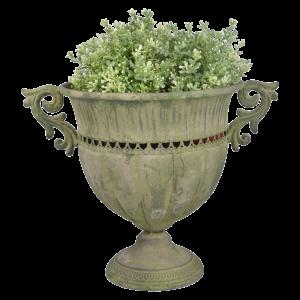 Starožitný vintage kovový kvetináč z patiny s obitým vzhľadom Esschert Design 35054