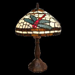 Stolná lampa Tiffany s vážkou Clayre & Eef 34582