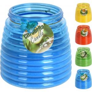 Sviečka Citronella v sklenenej fľaške proti komárom mix farieb 34341