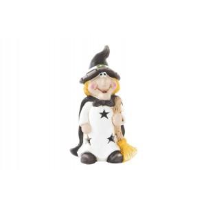 Svietiaca biela keramická postavička ježibaby s klobúkom a metlou 9 x 8 x 17 cm 35278