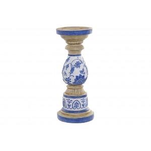 Svietnik z polyresinu s modro bielym vzorom 11,5x11,5x28 cm 32784