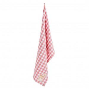 Kuchynská kockovaná utierka bielo ružová so srnkou Clayre-Eef 29267