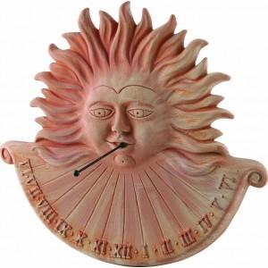 Terakotová dekorácia na stenu ako slnečné hodiny v tvare Slnka 46 cm 30755