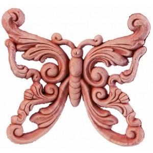 Terakotový vyrezávaný motýľ 16 cm 34466