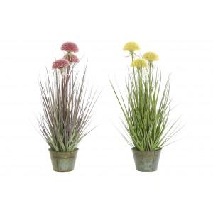 Tráva s ružovými alebo žltými kvetmi v kovovom kvetináči 60 cm 32808