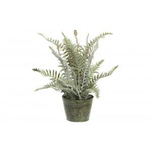 Umelá zelená papraď v jednoduchom kovovom kvetináči 12 x 12 x 40 cm 35298