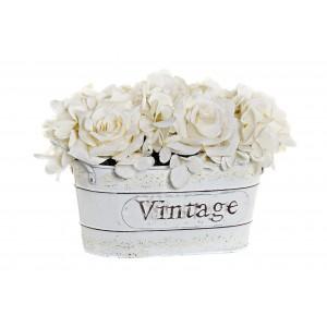 Umelé biele ruže v kovovom kvetináči s nápisom vo vintage štýle 24 x 15 x 17 cm 35299