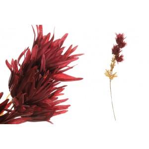 Umelé bordové kvety na vetvičke s lístkami 80 cm 35188