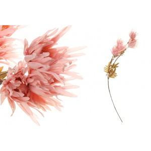 Umelé ružové kvety na vetvičke s lístkami 80 cm 35186