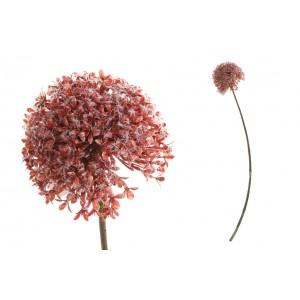 Umelý cesnakový kvet červenej farby na stonke 66 cm 35193