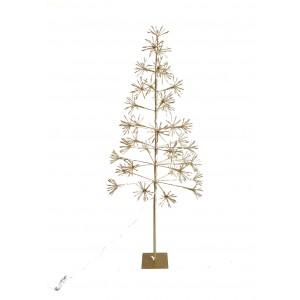 Umelý vianočný svietiaci zlatý stromček na zlatom podstavci s LED žiarovkami 150 cm 35556