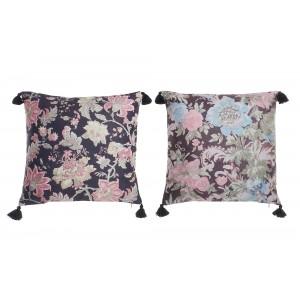 Vankúš s kvetinovým vzorom v rustikálnom vintage štýle so strapcami na rohoch vankúša 45 x 45 cm 35301